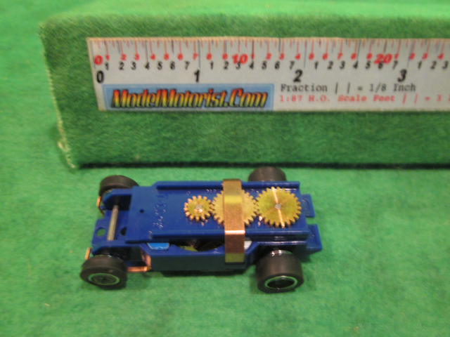 Top view of Dash IROC Blue HO Slot Car Chassis