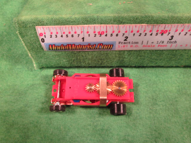 Top view of Dash IROC Red (Correct) HO Slot Car Chassis
