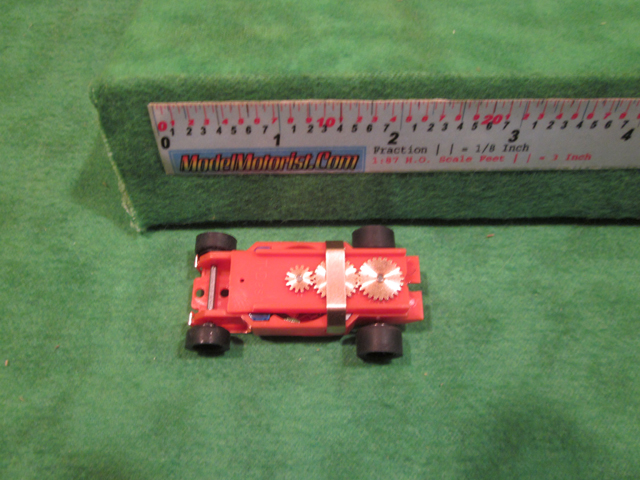 Top view of Dash IROC Orange HO Slot Car Chassis