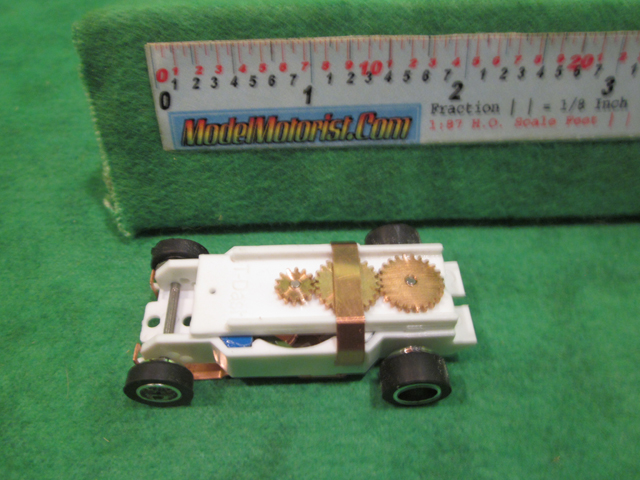 Top view of Dash IROC White HO Slot Car Chassis