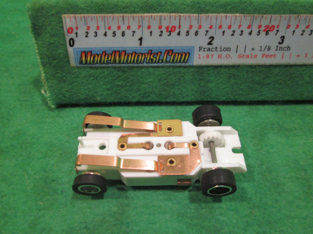 Bottom view of Dash T 2.0 IROC White HO Slot Car Chassis