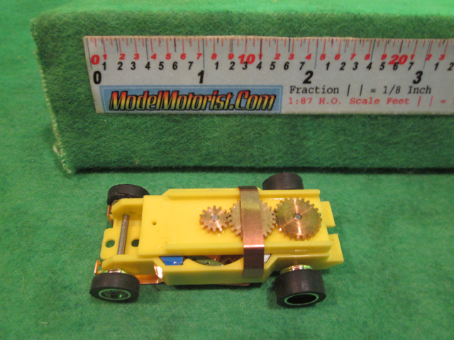 Top view of Dash IROC Yellow HO Slot Car Chassis