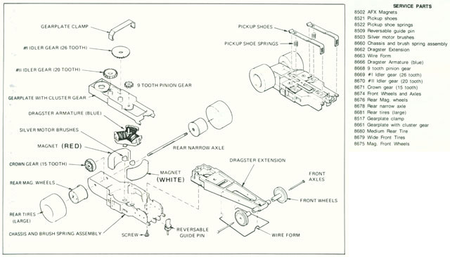 Exploded view of Aurora AFX Specialty HO Slot Car Chassis