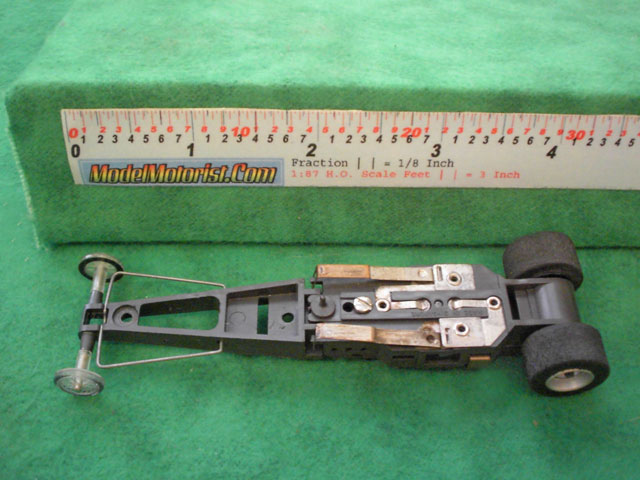 Bottom view of Aurora AFX Specialty HO Slot Car Chassis