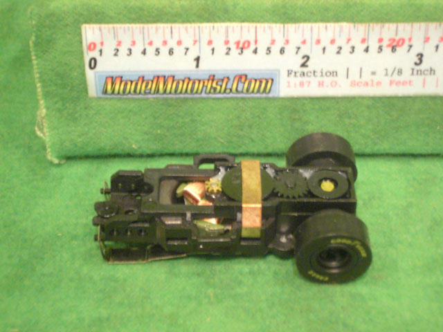 Top view of Auto World Dragster HO Slot Car Chassis