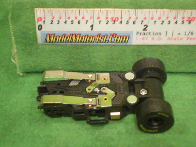 Bottom view of Auto World Dragster HO Slot Car Chassis