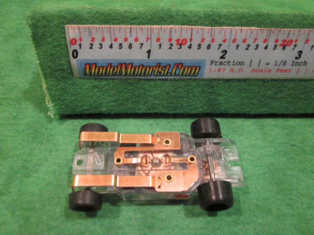 Bottom view of Dash T 2.0 Transparent ABS HO Slot Car Chassis