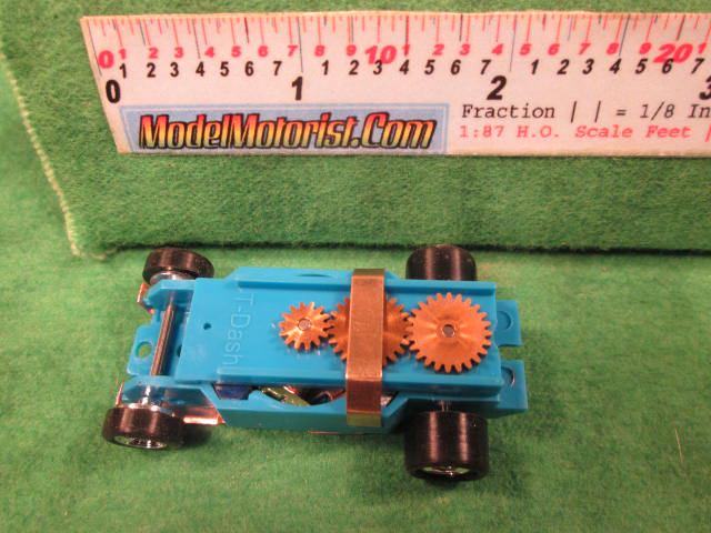 Top view of Dash T 2.0 Light Blue HO Slot Car Chassis