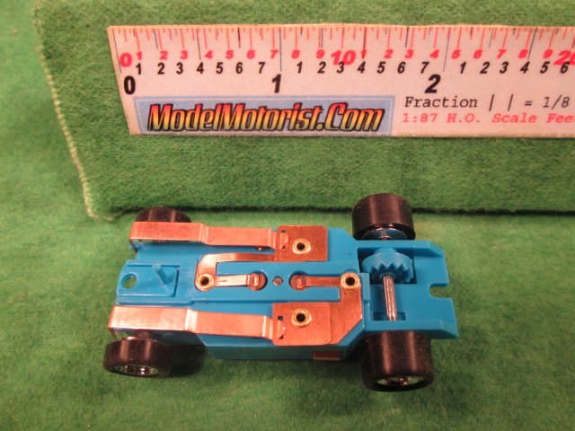 Bottom view of Dash T 2.0 Light BlueHO Slot Car Chassis