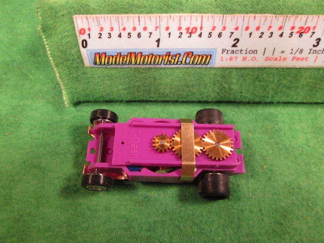 Top view of Dash T 2.0 Light Purple HO Slot Car Chassis