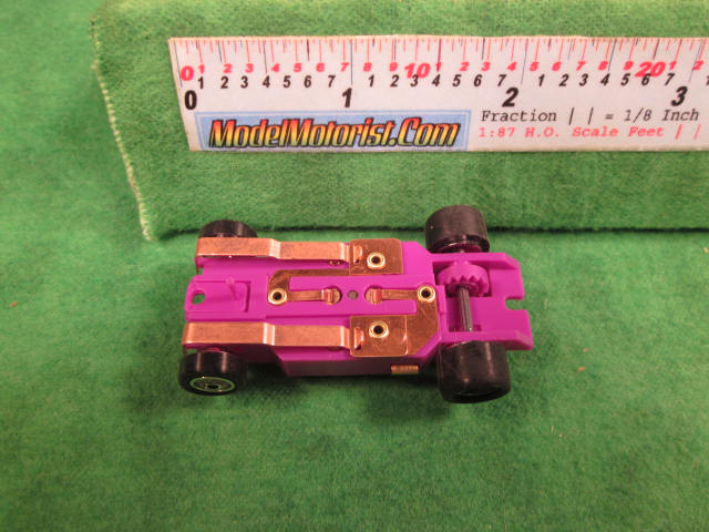 Bottom view of Dash T 2.0 Light Purple HO Slot Car Chassis
