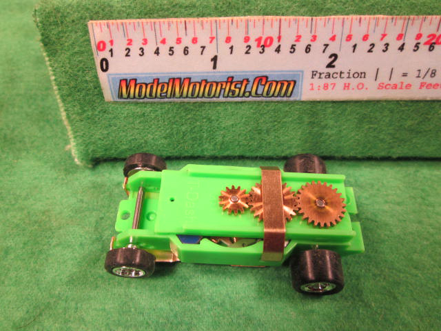 Top view of Dash T 2.0 Neon Green HO Slot Car Chassis