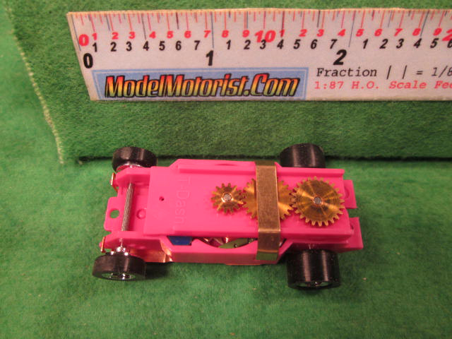 Top view of Dash T 2.0 Pink HO Slot Car Chassis