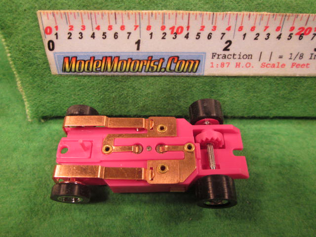 Bottom view of Dash T 2.0 Pink HO Slot Car Chassis