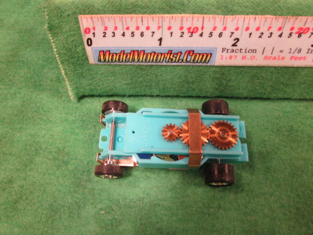 Top view of Dash T 2.0 Turquoise HO Slot Car Chassis