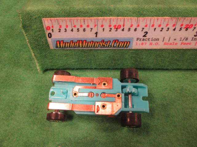 Bottom view of Dash T 2.0 Turquoise HO Slot Car Chassis