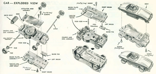 Exploded view of Aurora Model Motoring Vibrator Slot Car Chassis