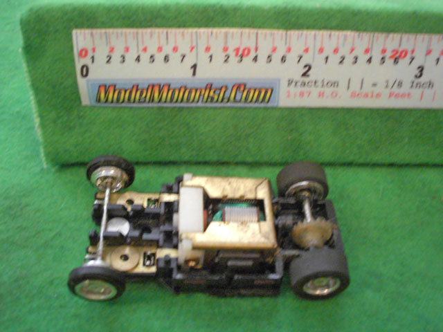 Top view of Tyco Curve Hugger Slot Car Chassis