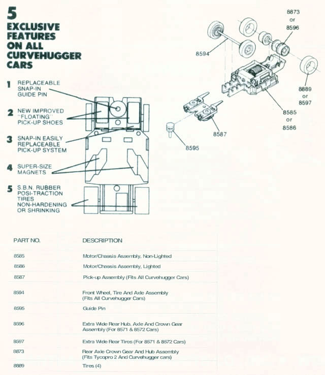 Exploded view of Tyco Curve Hugger Slot Car Chassis
