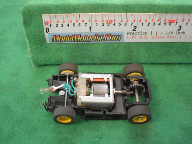 Top view of Tyco Lighted HP-7 HO Slot Car Chassis