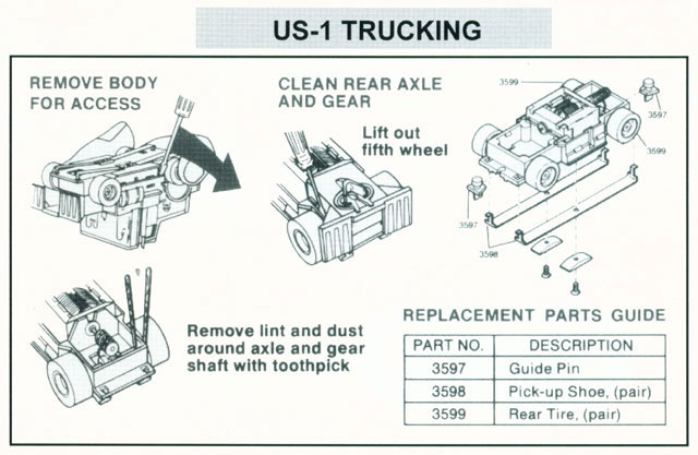 Exploded view of Tyco US1 Electric Trucking HO Semi Cab Chassis